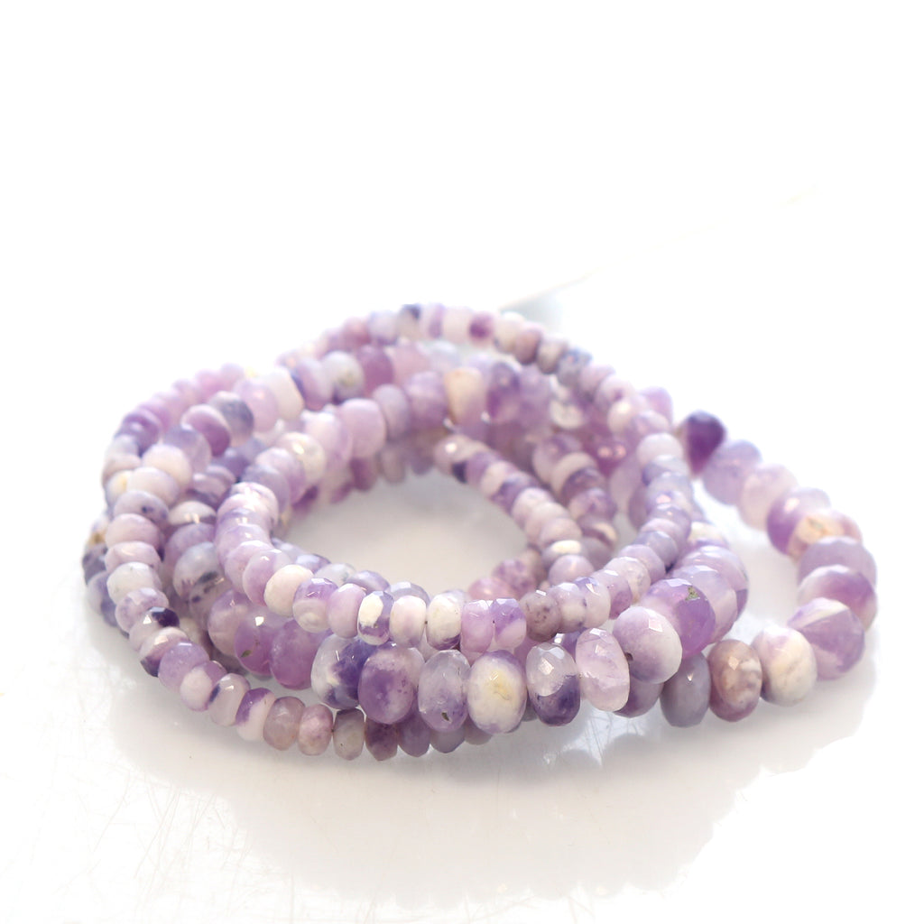 Light Lilac Mexican Opal Beads Rondelles Faceted 4.8-8mm 18""