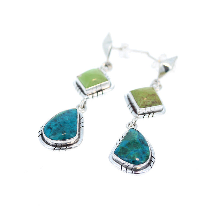 CHRYSOCOLLA and GASPEITE EARRINGS Sterling Silver Southwest Style