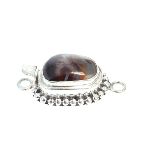 Fire Agate Clasp Free Form Sterling