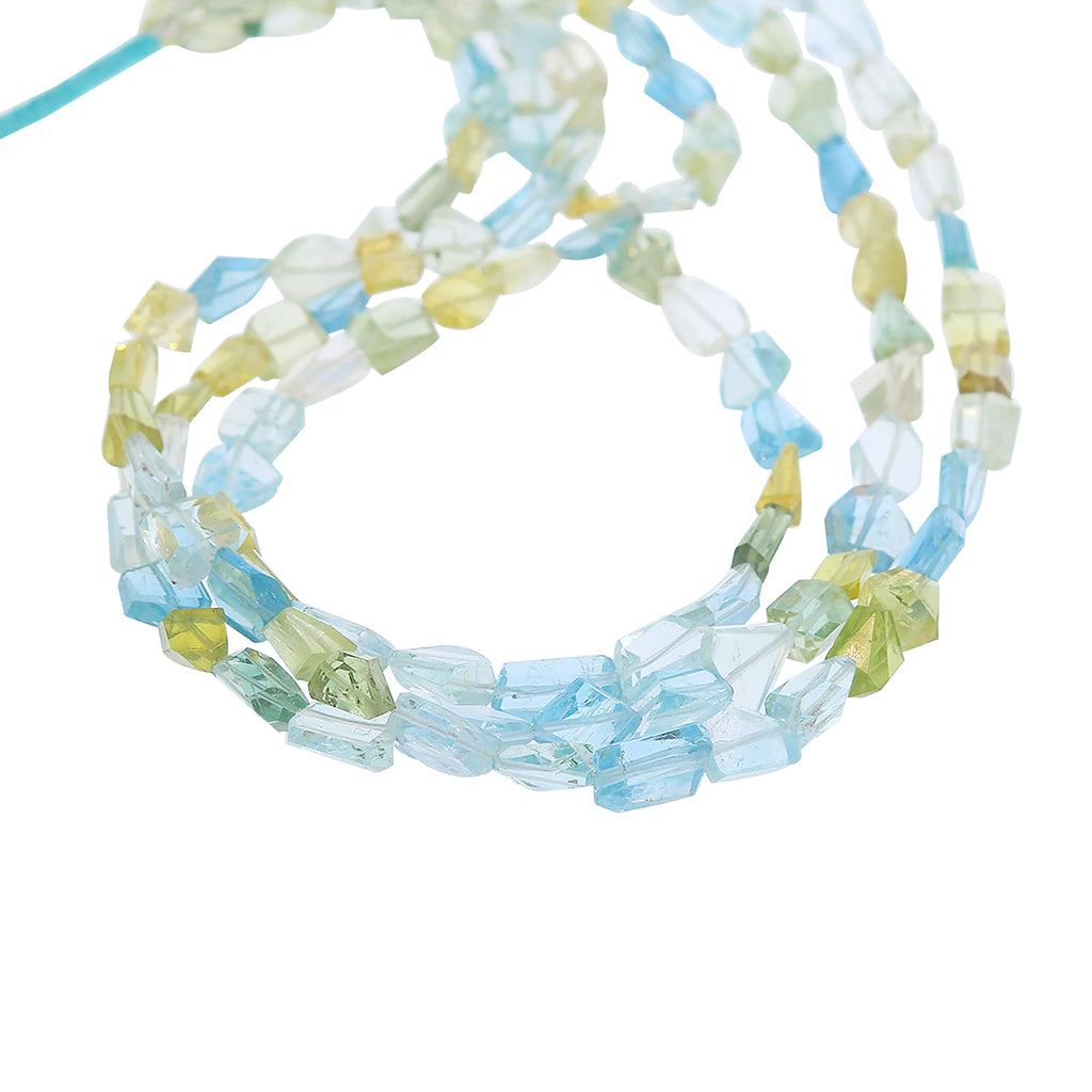 AQUAMARINE BEADS FACETED Free Form Multi Color Nuggets