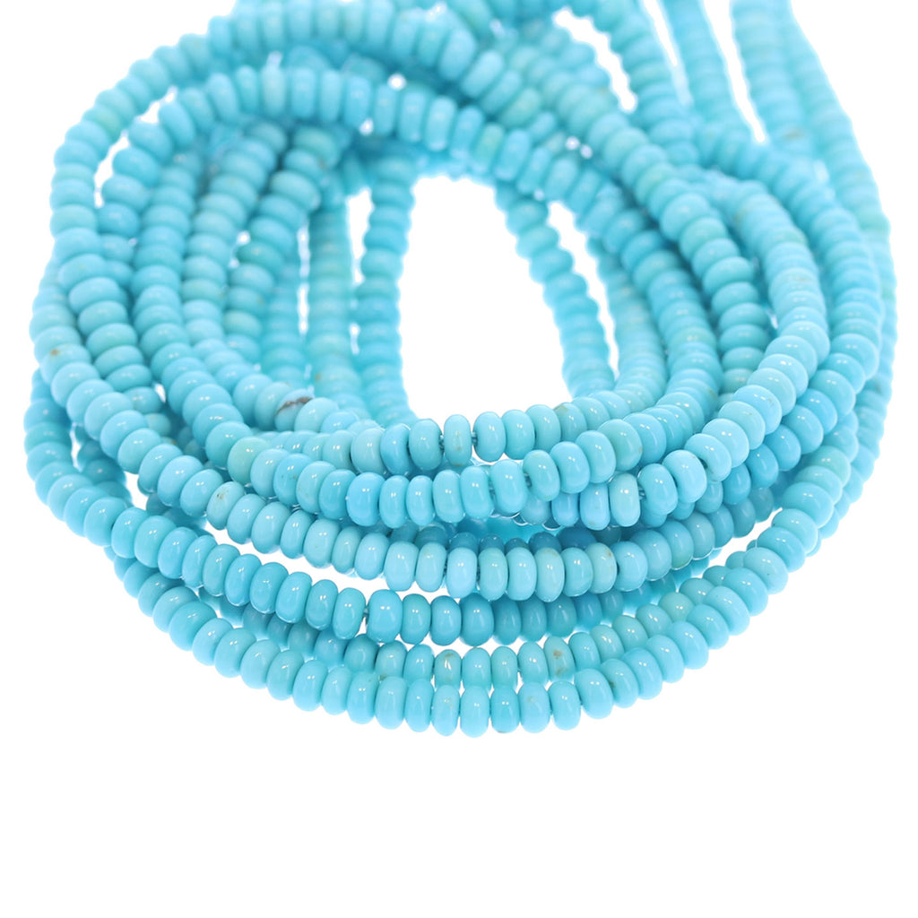 GENUINE SLEEPING BEAUTY Turquoise Beads Rondelles 3mm
