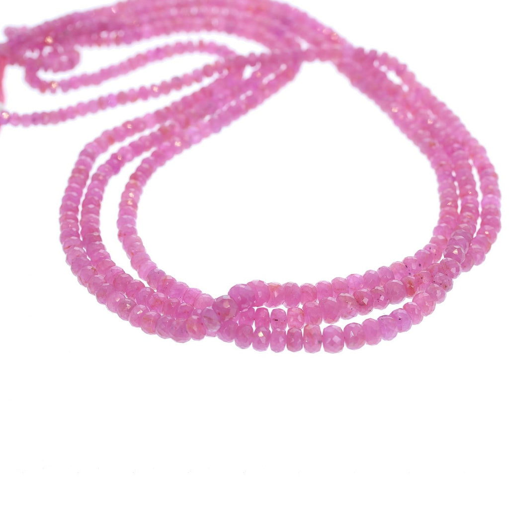 SAPPHIRE BEADS FACETED Rondelles Hot Pink 3-5.5mm 16""