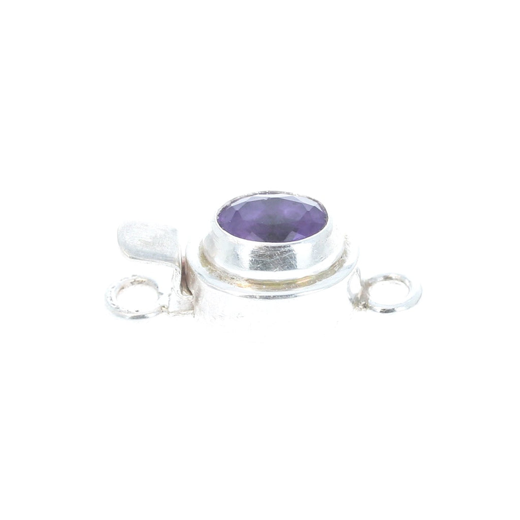 Amethyst Clasp Sterling Oval Faceted 6x8mm
