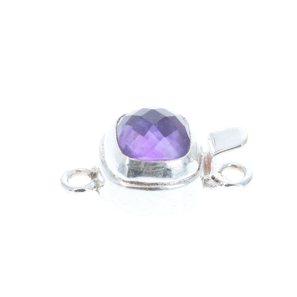 Amethyst Clasp Sterling Cushion 8mm Faceted Classic