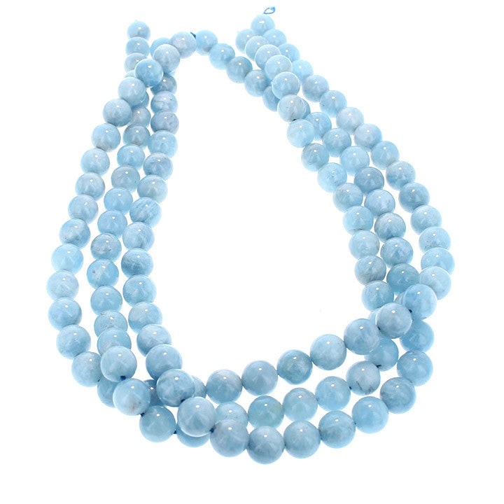 AQUAMARINE BEADS ROUND 10mm 16""