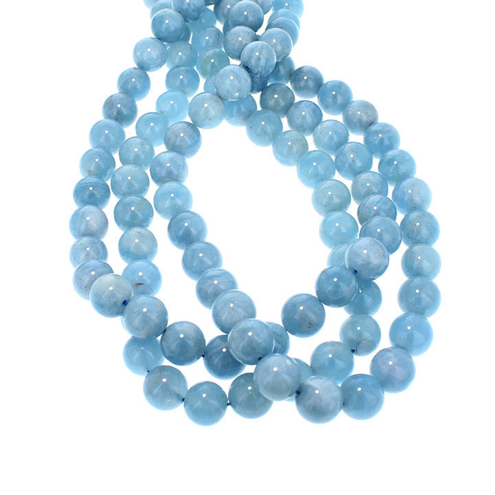 Aquamarine Beads Round Deep Blue 10mm 16""