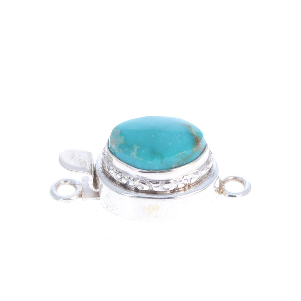 BLUE MOON TURQUOISE Clasp Robins Egg Blue Etched