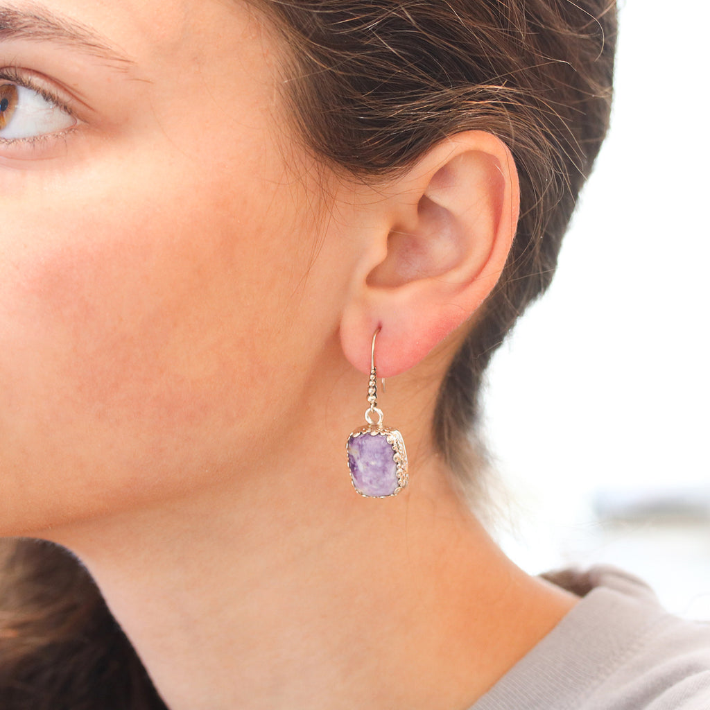 Lavender Mexican Opal Earrings Cushion Shaped Sterling