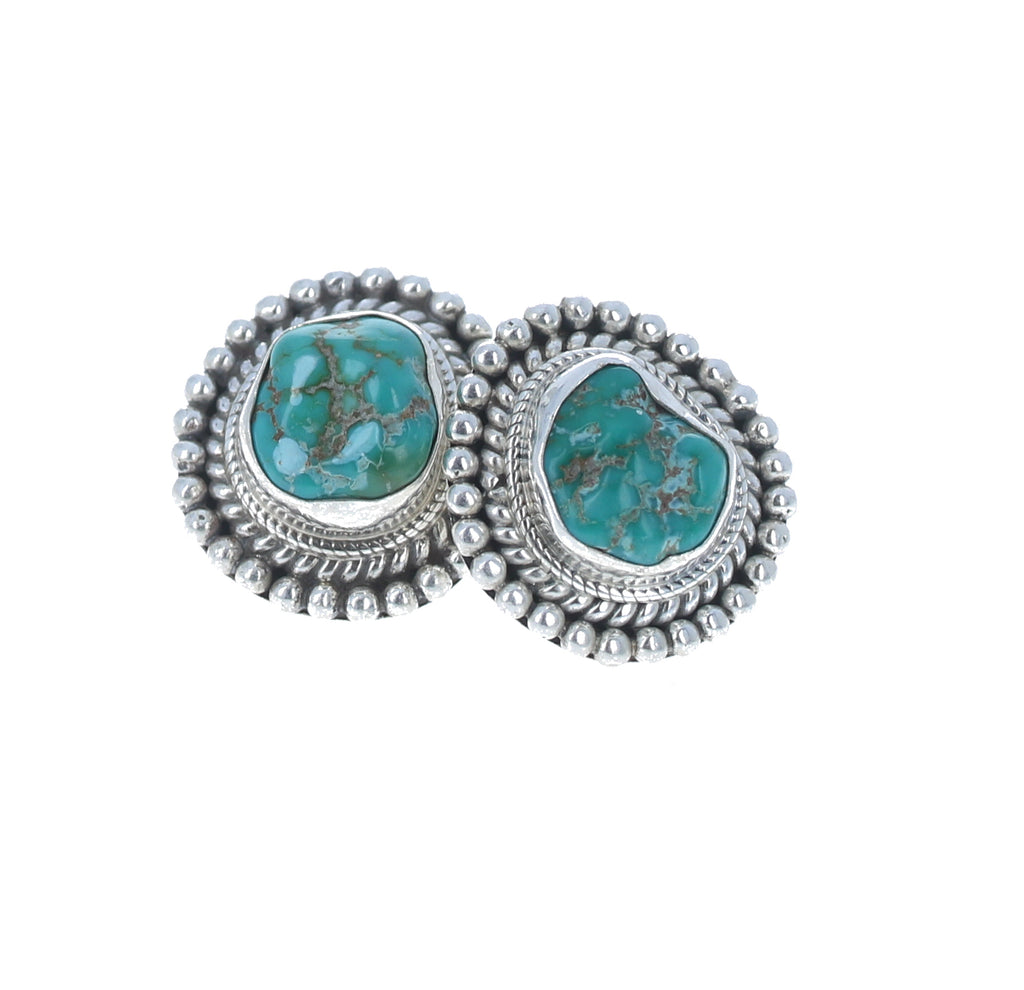 Fox Turquoise Earrings Sterling Silver Southwest Style Posts #2