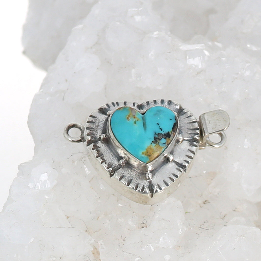 Kingman TURQUOISE Clasp Sterling Heart Shaped Southwest
