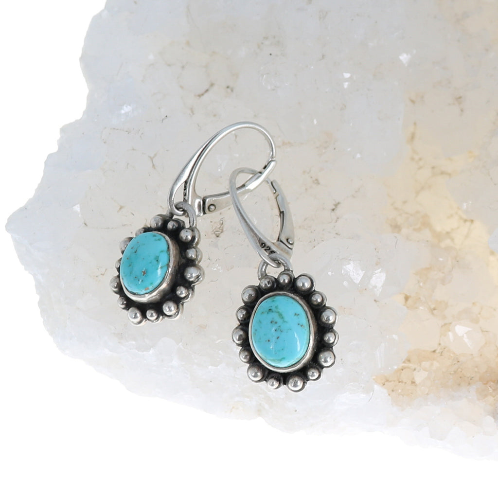 RARE #8 TURQUOISE Earrings Sky Blue Sterling Ovals