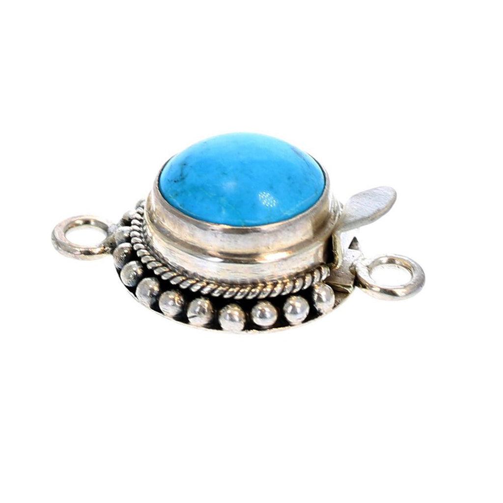 KINGMAN TURQUOISE CLASP Round 12mm Sterling Ball Wire Design