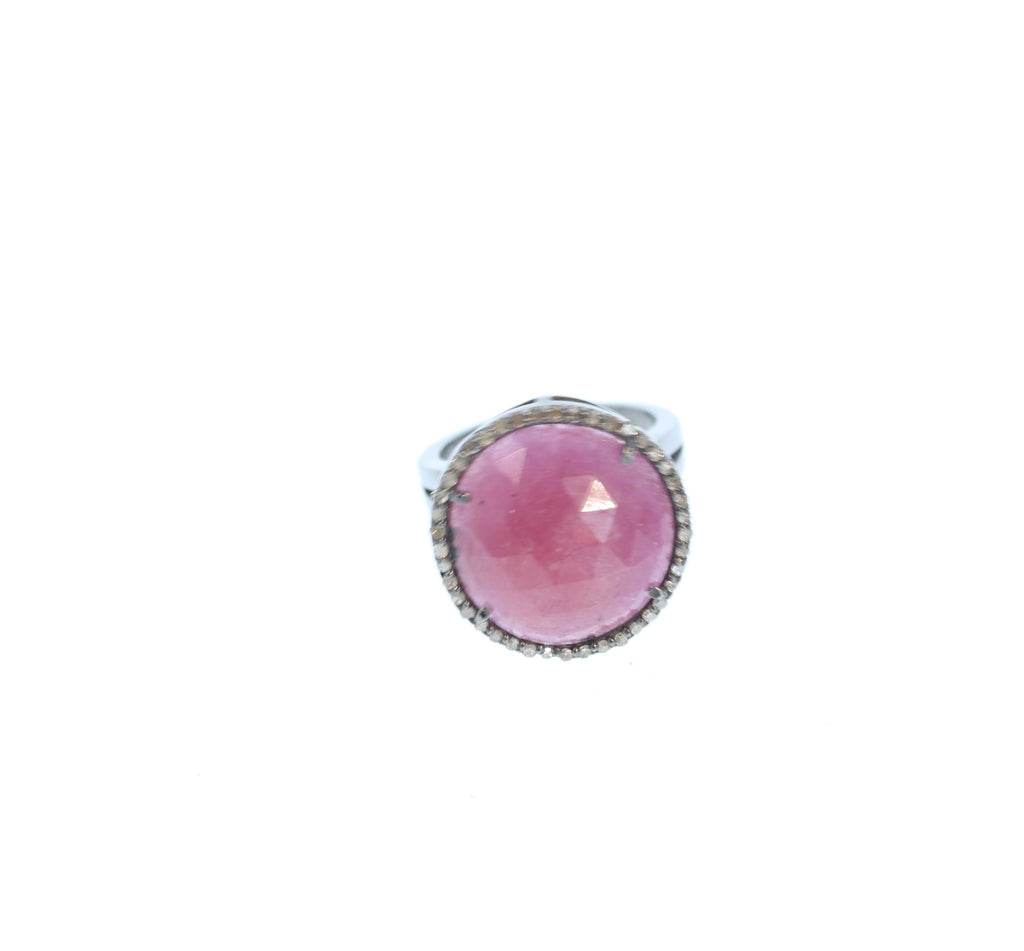 Ruby Diamond Ring Sterling 18mm Size 7