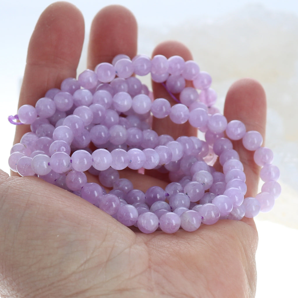 AAA KUNZITE Round Beads 6.6mm Lilac Orchid