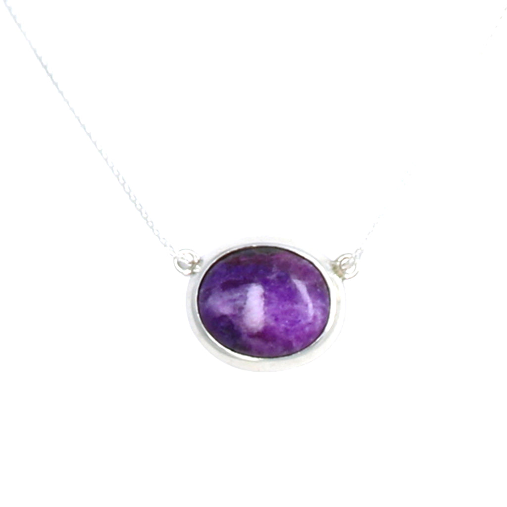 "Rare Sugilite Sterling Pendant Necklace 17"" Oval"