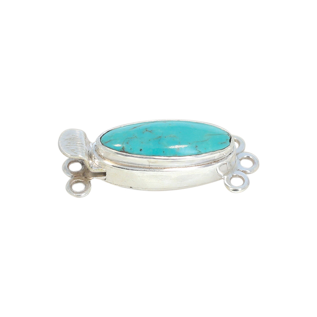 Kingman Turquoise Clasp Classic Style 3 Strand Long Oval