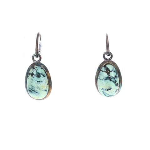 NEW LANDER TURQUOISE Earrings Sterling Teardrops Oxidized