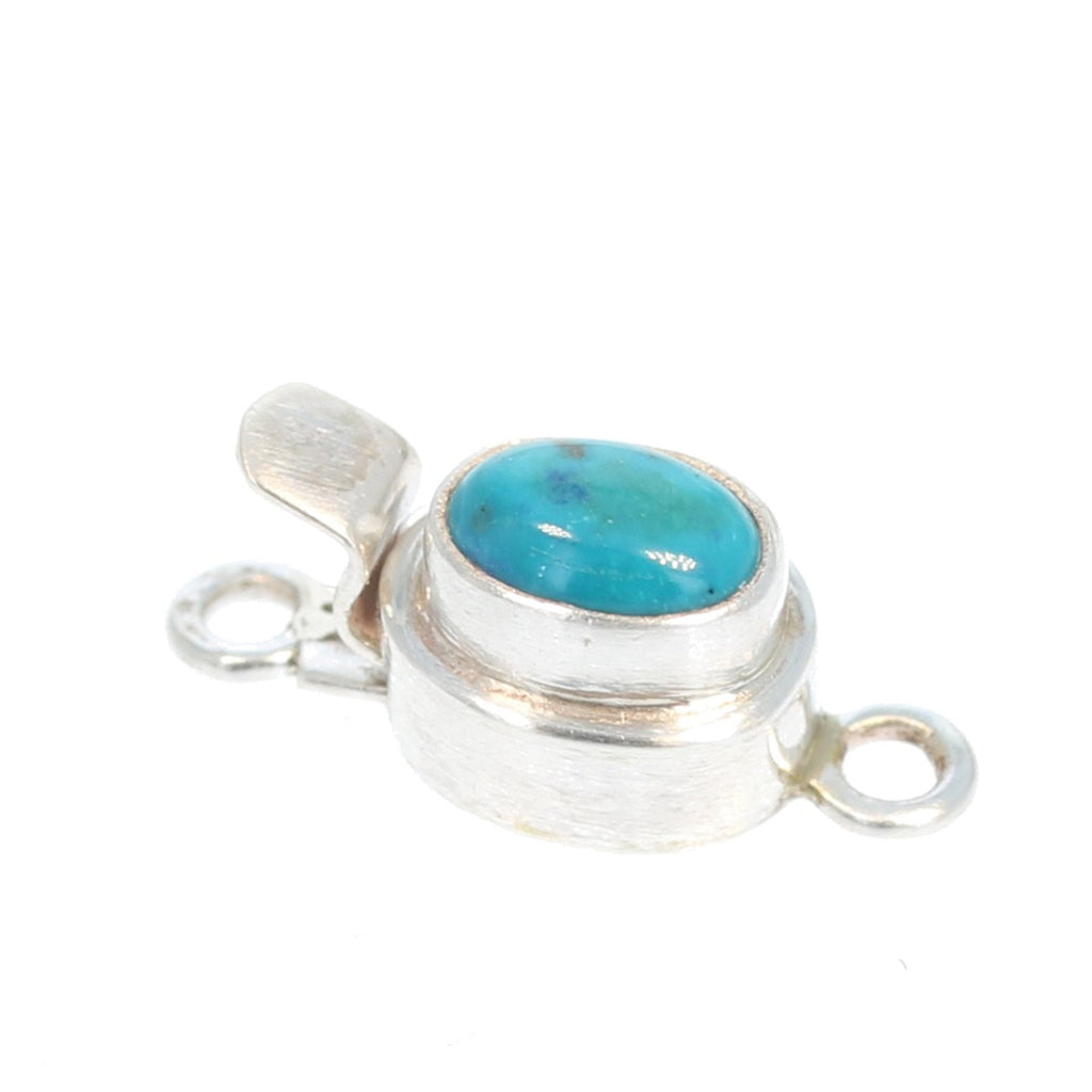 Deep Teal Fox Turquoise Small Oval Shaped Clasp