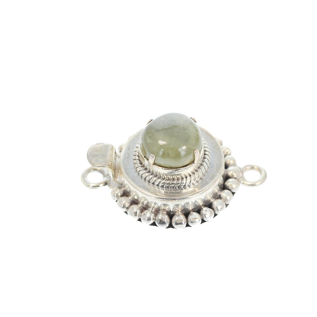 Green Sapphire Clasp Large Free Form Cabochon Sterling