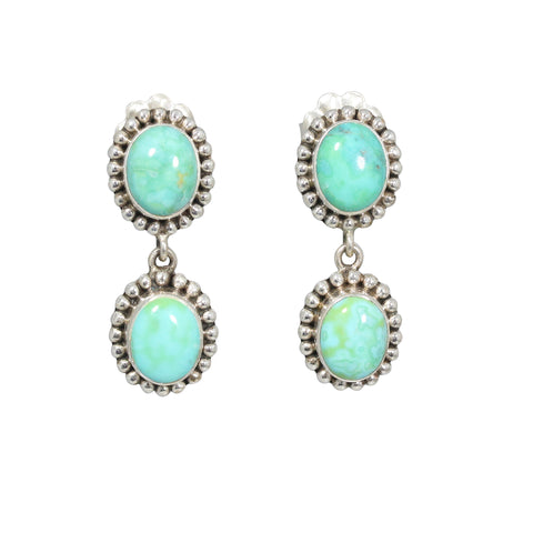MEXICAN TURQUOISE Earrings Mint Green Blue Sterling Posts 2 Stone