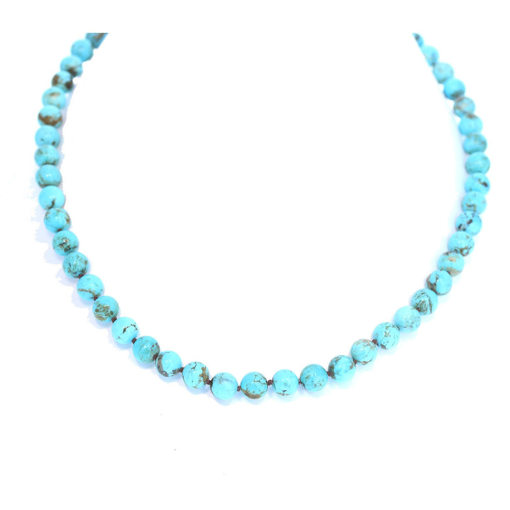 AAA TURQUOISE NECKLACE Knotted 8mm Round Beads