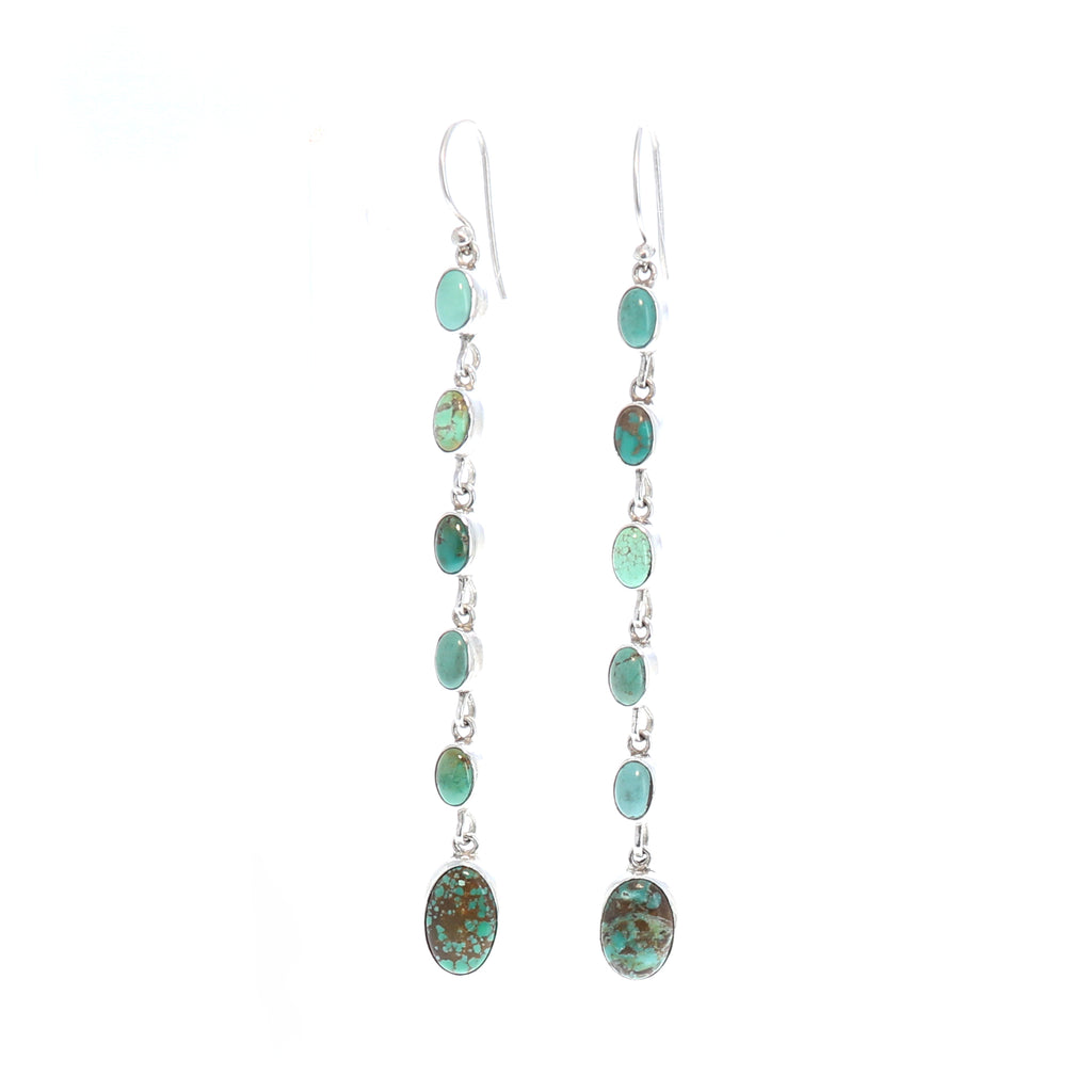 CARICO LAKE Turquoise Long Earrings Multi Color Ovals 3.75""