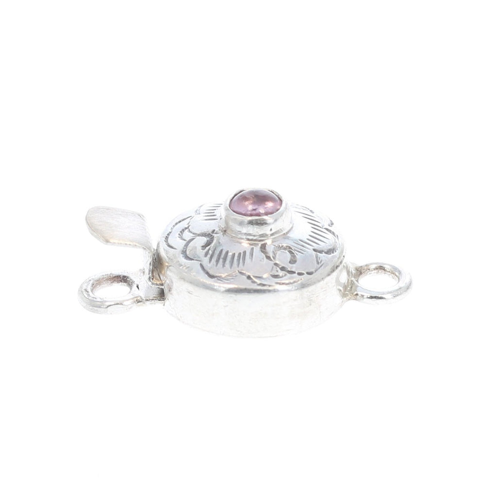 PINK TOURMALINE CLASP Round Sterling Cloud Design