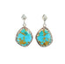 Big Beautiful KINGMAN TURQUOISE Earrings Sky Blue Golden