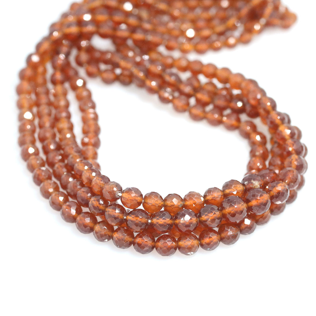 HESSONITE GARNET BEADS FACETED GRADUATED RONDELLE