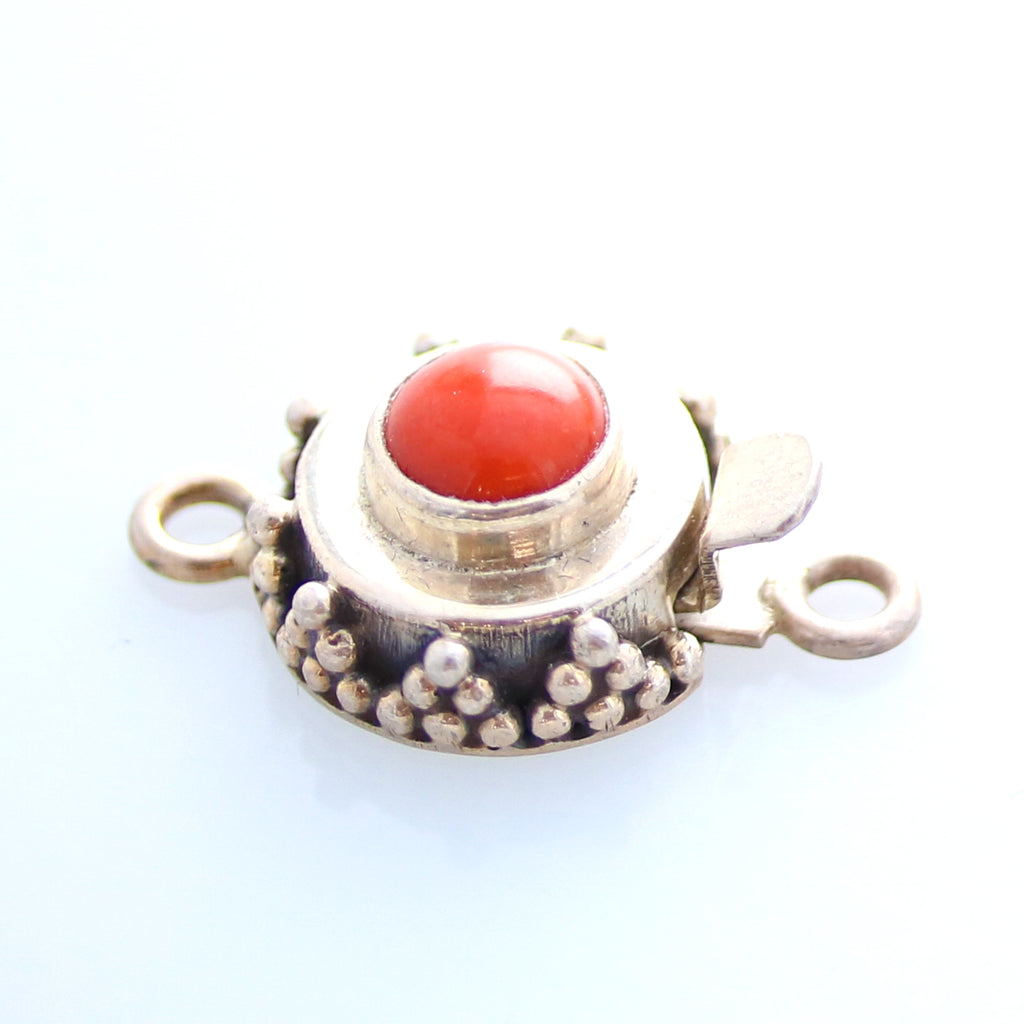 RED CORAL CLASP 7mm ROUND  STERLING GRANULATED