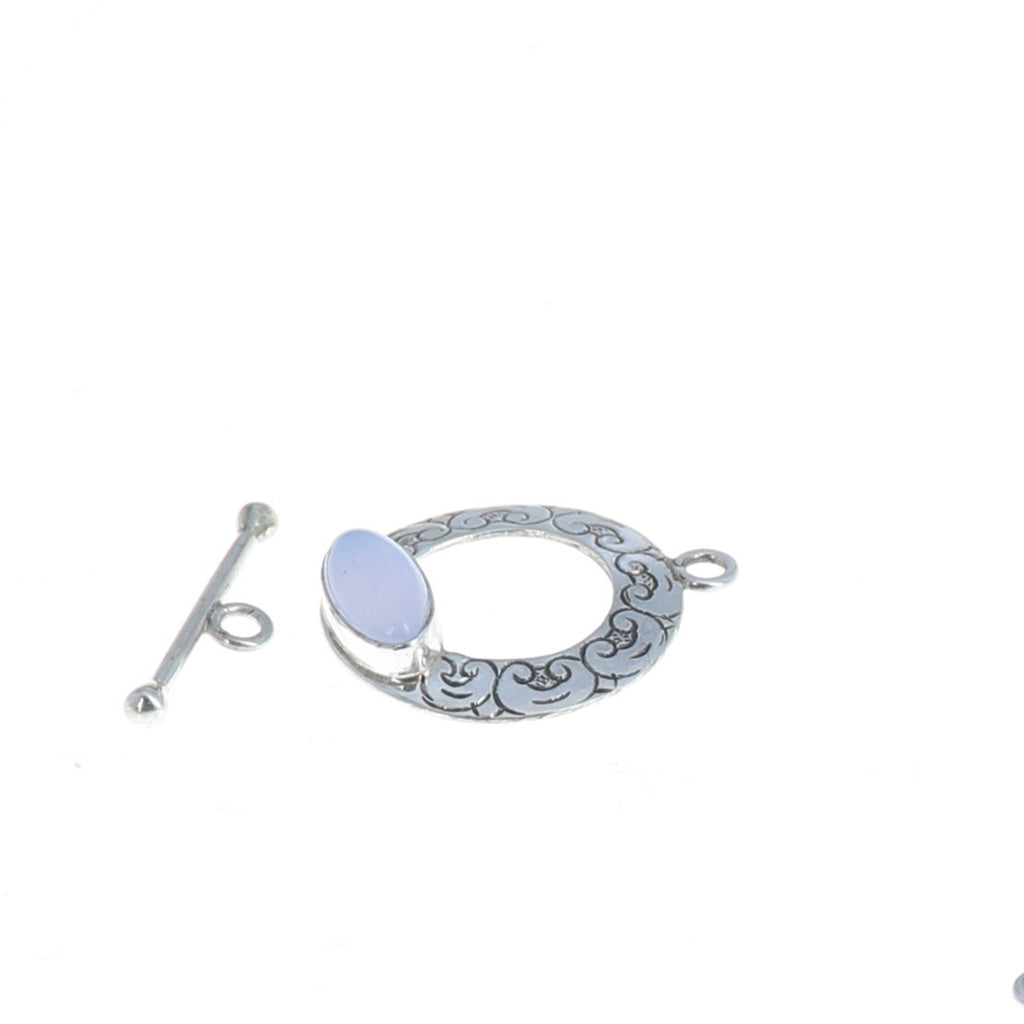 Ethereal Blue Chalcedony Toggle Clasp Sterling