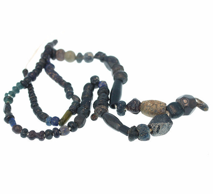 "ANCIENT FAIENCE and ROMAN Glass Beads 14"" Strand Black"