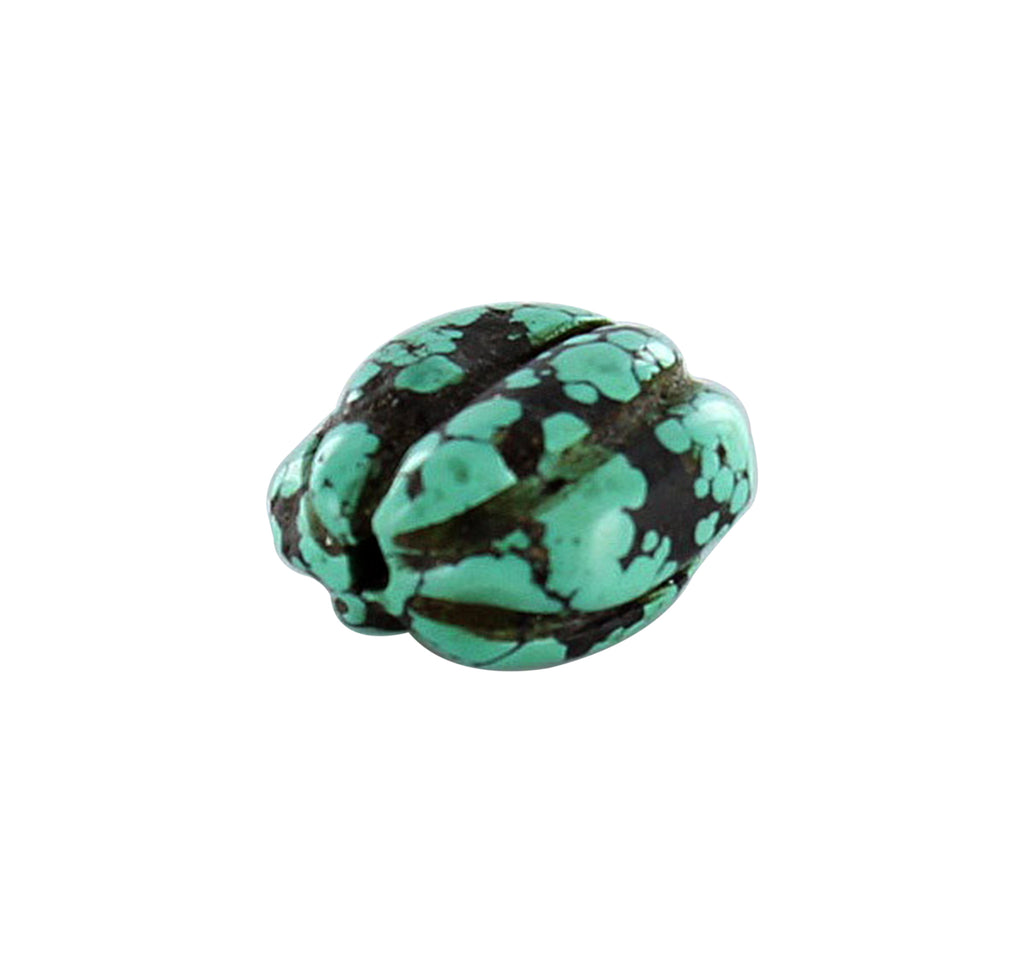 ANTIQUE TIBETAN TURQUOISE Bead Melon Shape 22x21.5mm - New World Gems - 1