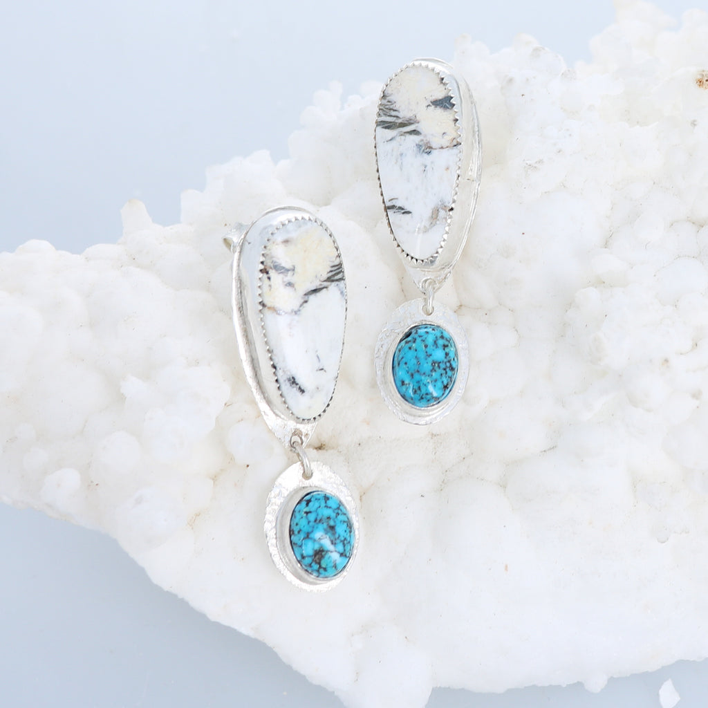 WHITE BUFFALO and Sonoran Blue Jay Turquoise Earrings
