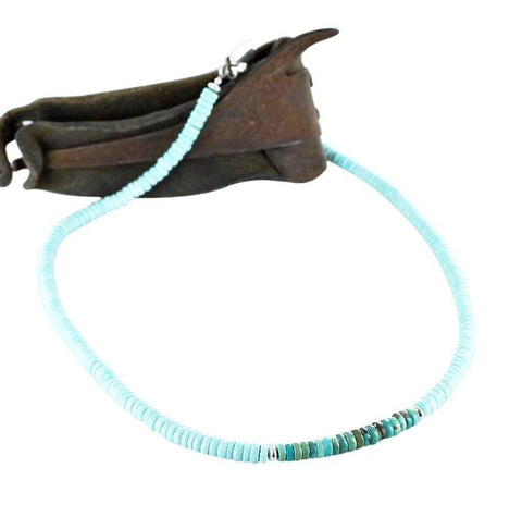 MENS TURQUOISE NECKLACE White Creek and Carico Lake 5mm 18""