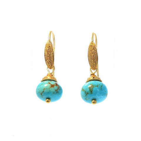GOLD EARRINGS with CARICO Lake Turquoise 18k