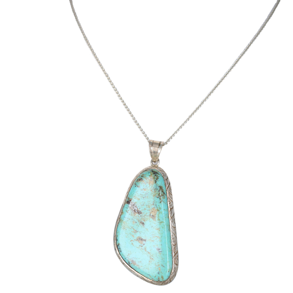 TURQUOISE TEARDROP PENDANT STERLING 48x26mm MEXICAN