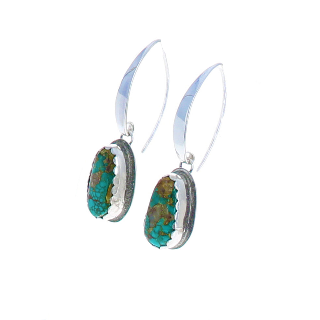 TURQUOISE EARRINGS Turquoise Mountain Mine Long Ovals
