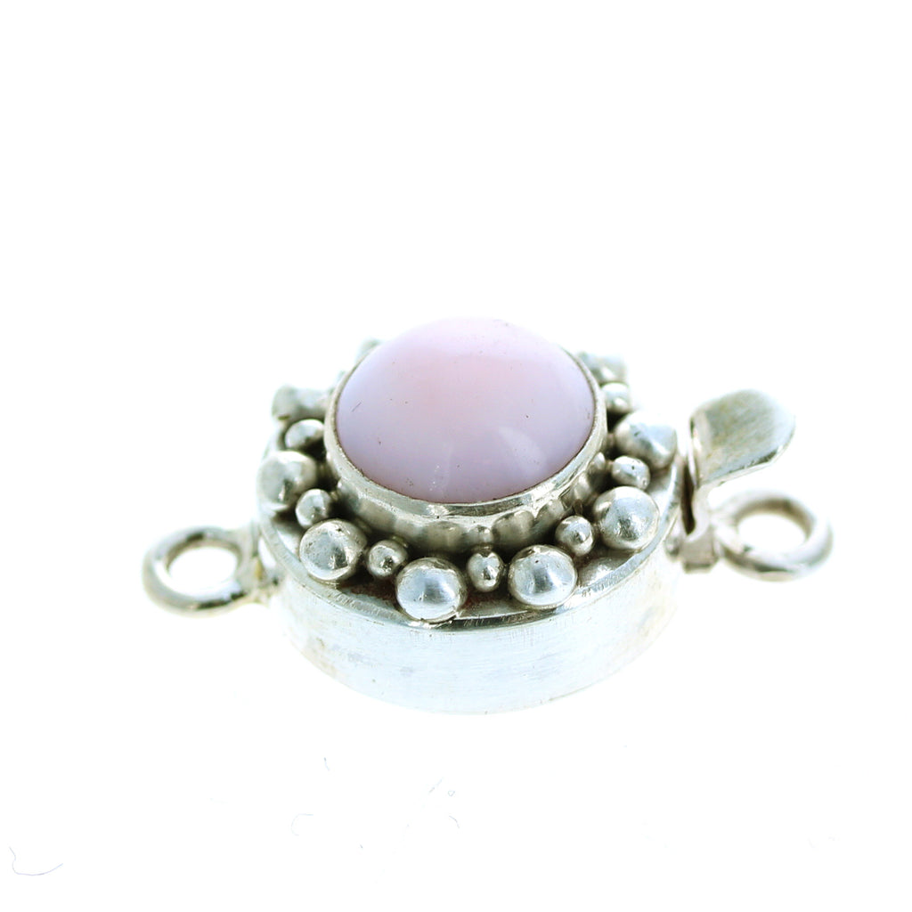 PINK PERUVIAN OPAL CLASP LARGE ROUND STERLING 10mm