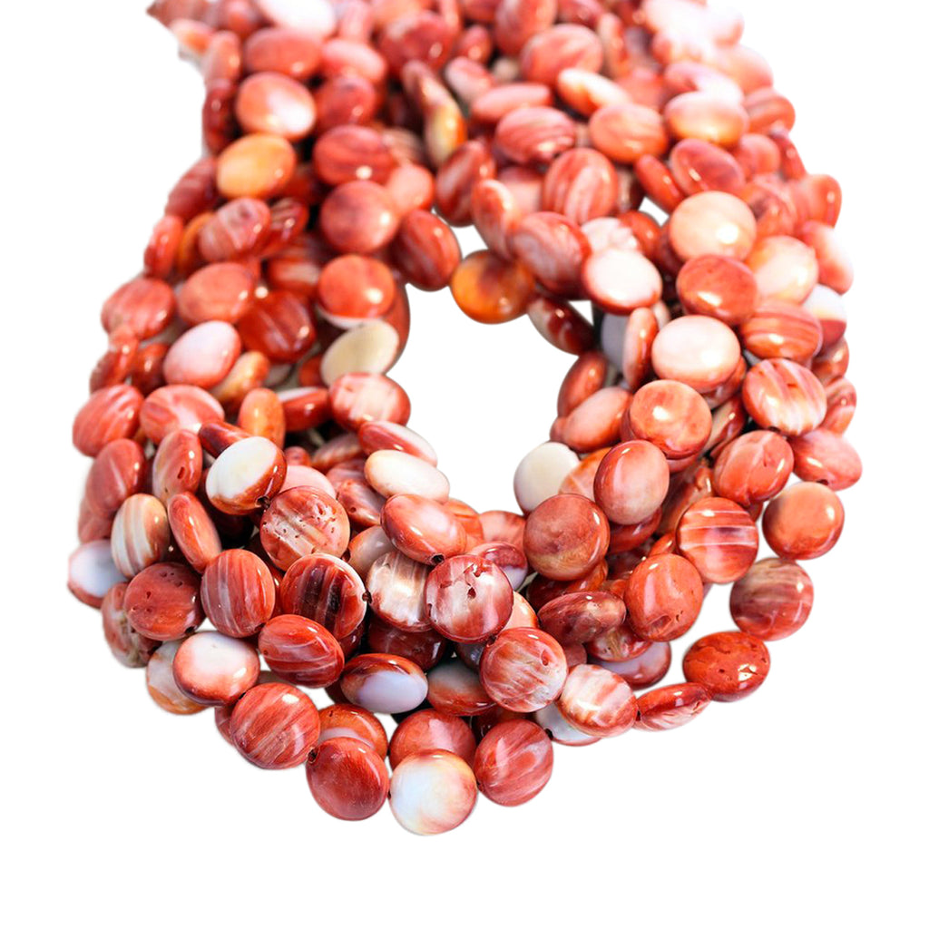 SPINY OYSTER BEADS Coin Shape Red 10mm 16""
