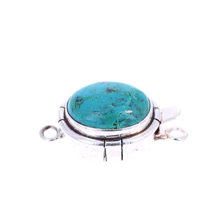 CHRYSOCOLLA CLASP Sterling Southwest Style Blue 17x13mm