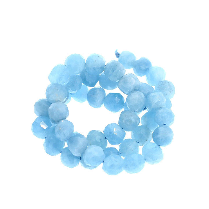 AQUAMARINE BEADS FACETED SEMI ROUND 9mm 15""