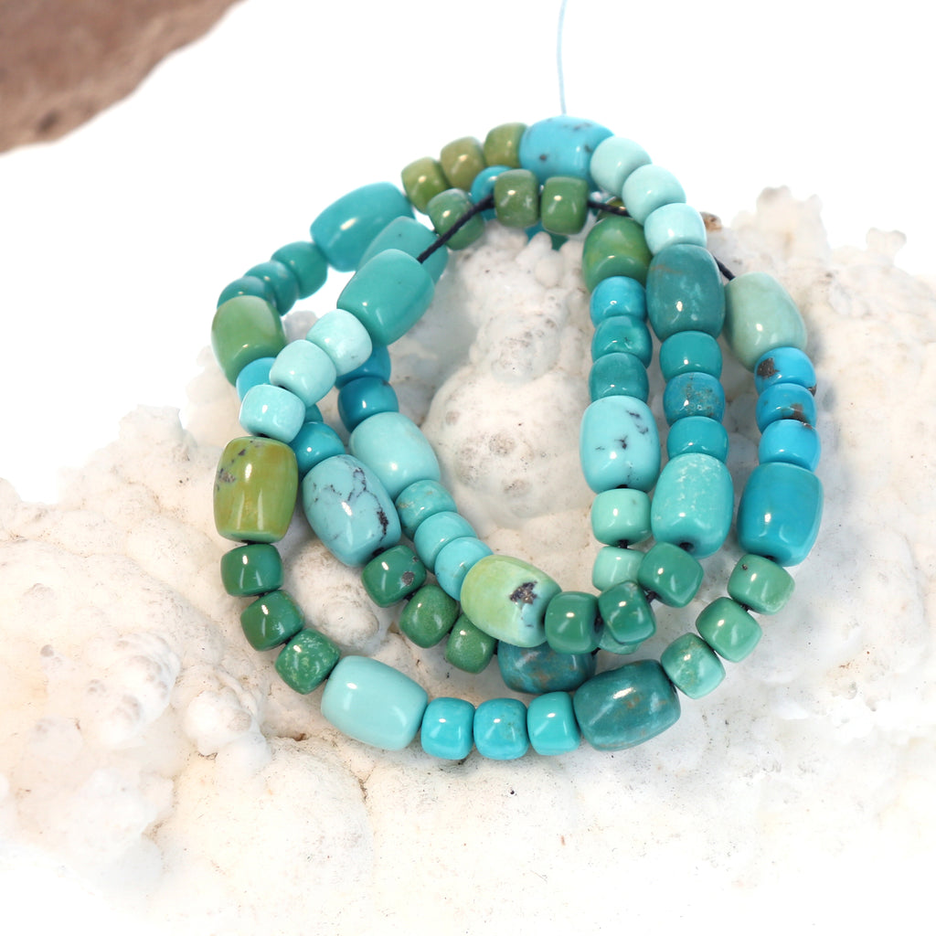 MEXICAN TURQUOISE BEADS Pueblos and Barrels Multi Color