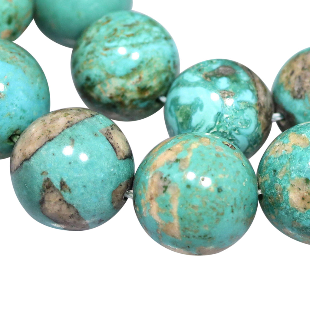 "UNIQUE MONGOLIAN TURQUOSE Round Beads Deep Aqua 16"" 13 to 14mm"