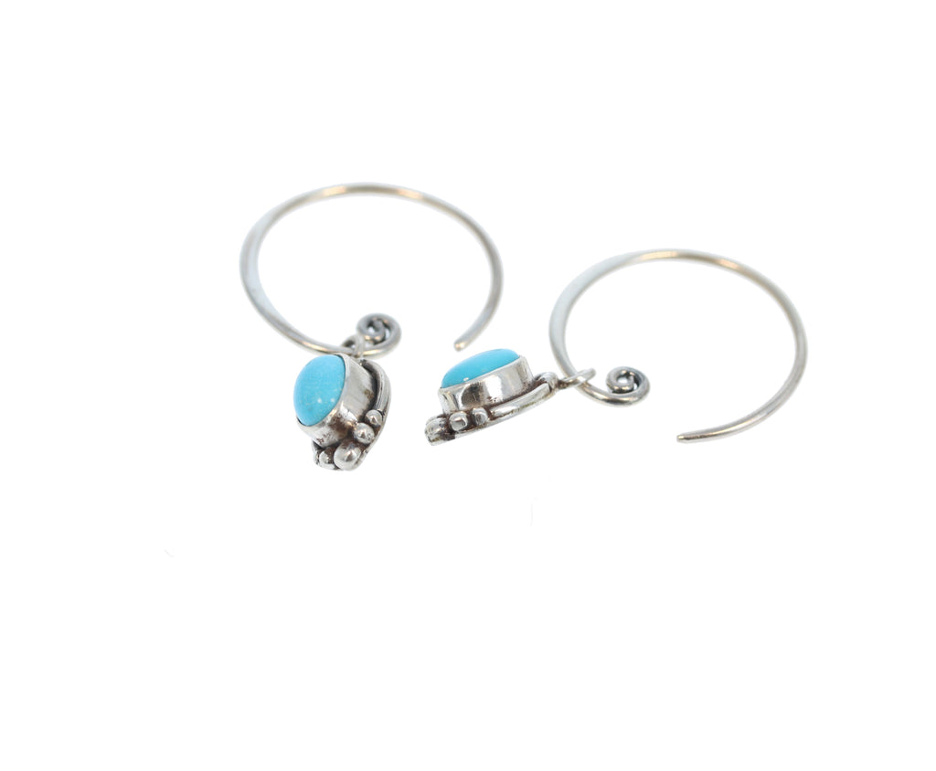 SLEEPING BEAUTY TURQUOISE Earrings Hoops 6x8mm Oval Stone