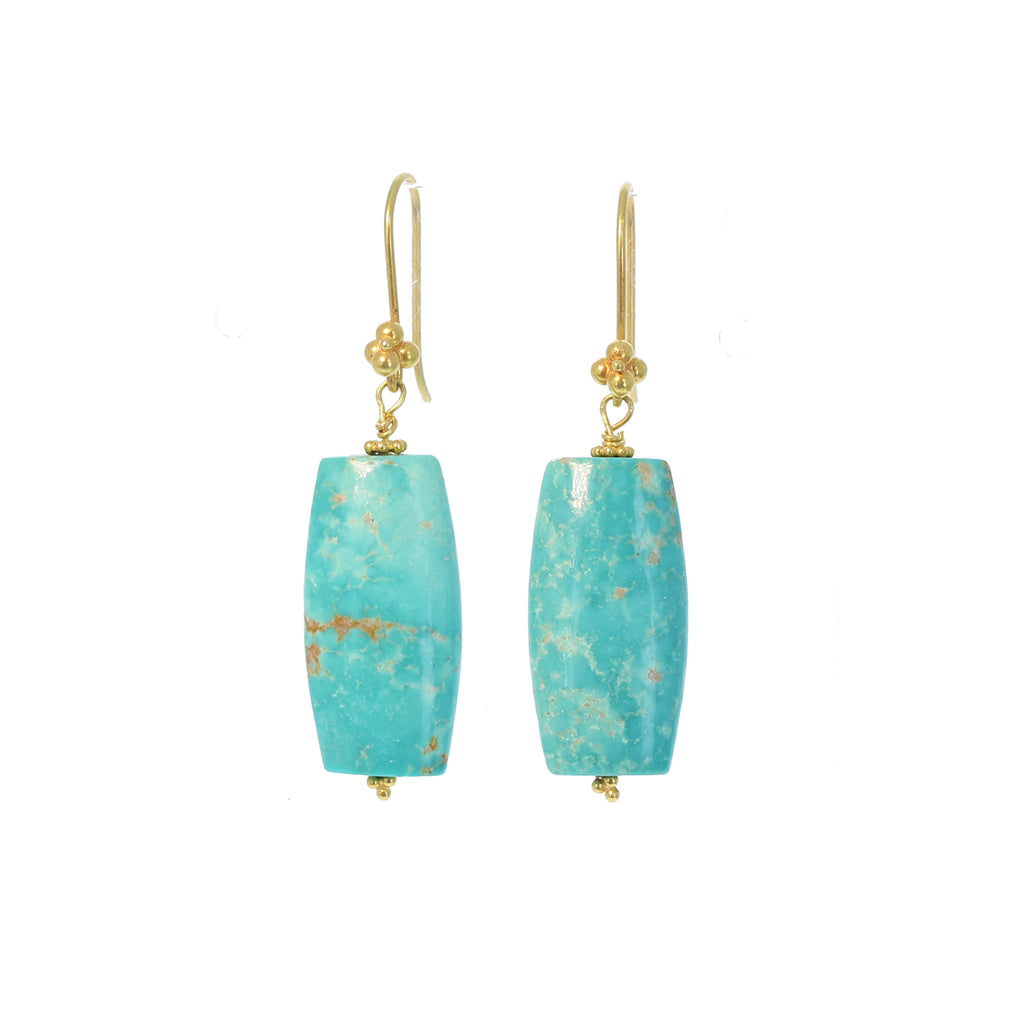 GOLD EARRINGS with CARICO Lake Turquoise 18k Elongated Shape