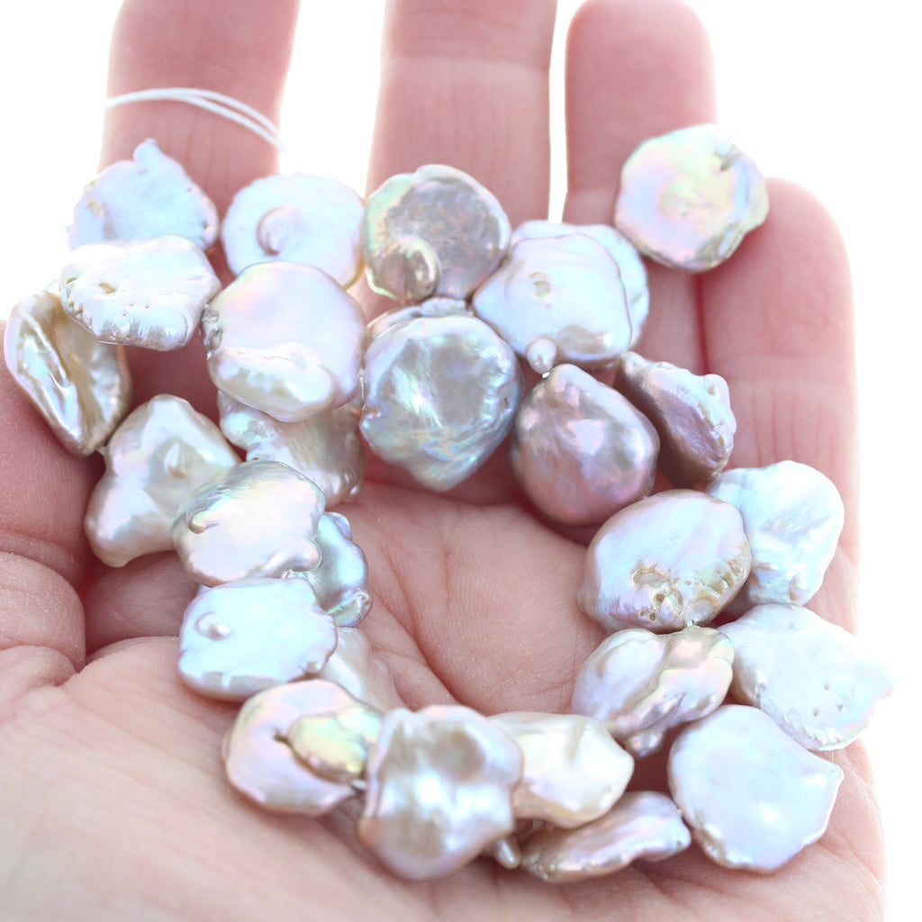 Exquisite PINK KEISHI PEARLS Pink Cream 14-16mm 16""
