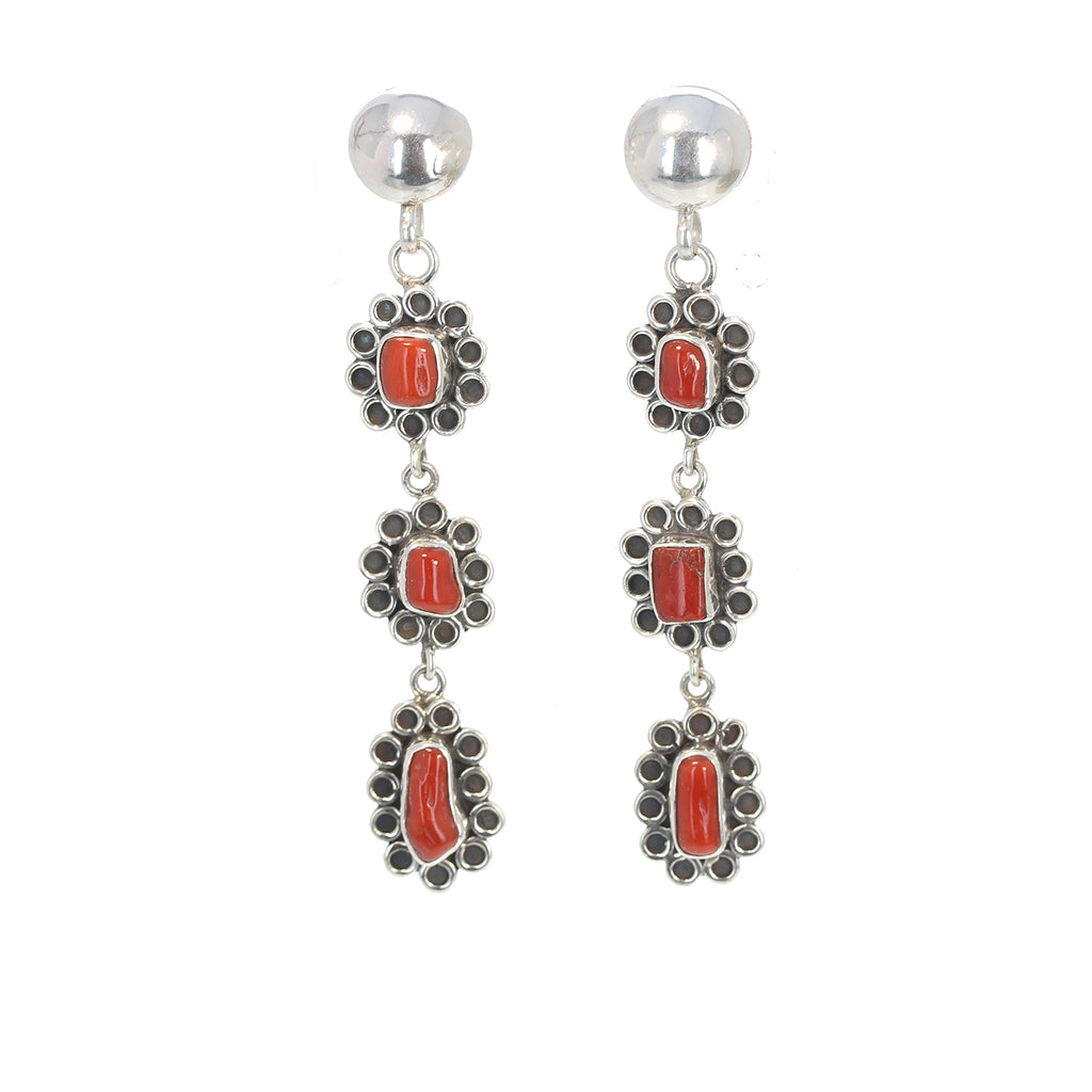 RED ITALIAN CORAL Earrings Sterling Silver 3 Stone