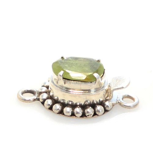 Green Sapphire Clasp Faceted Free Form Sterling