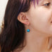18K Gold Peruvian Opal Ocean Blue Round Earrings